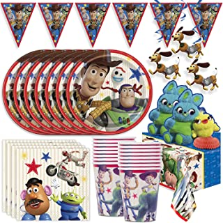 Toy Story 4 Party Supplies for 16- Plates, Cups, Napkin, Tablecloth, Banner, Hanging Swirls, Centerpieces, Tattoos, Balloo...