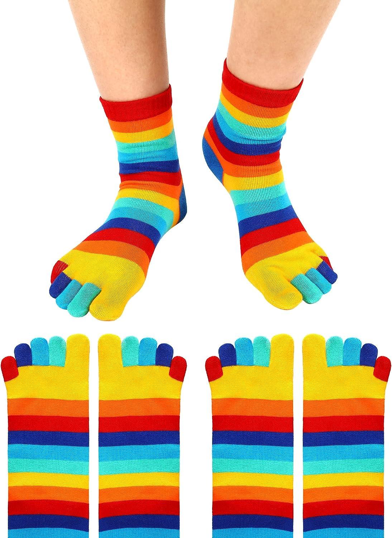 2 Pairs Rainbow Toe Socks 5 Toe Socks Colorful Stripe Rainbow High Socks for Girls Women (Medium)
