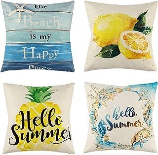 peony man Hello Summer Pillow Covers, Cotton Linen Pineapple Lemon Sea Horse Starfish Shell Wreath Beach Wood Grain Throw Pillowcases for Home Car Sofa Bedding Couch Decor, 18 x 18 Inch
