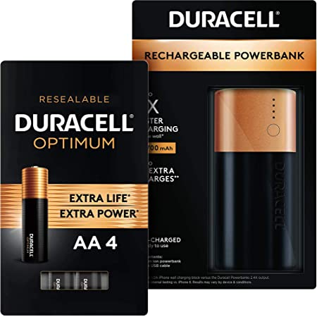 Amazon Com Duracell Rechargeable Powerbank 6700 Mah Optimum Aa Alkaline Batteries 4 Count Health Personal Care