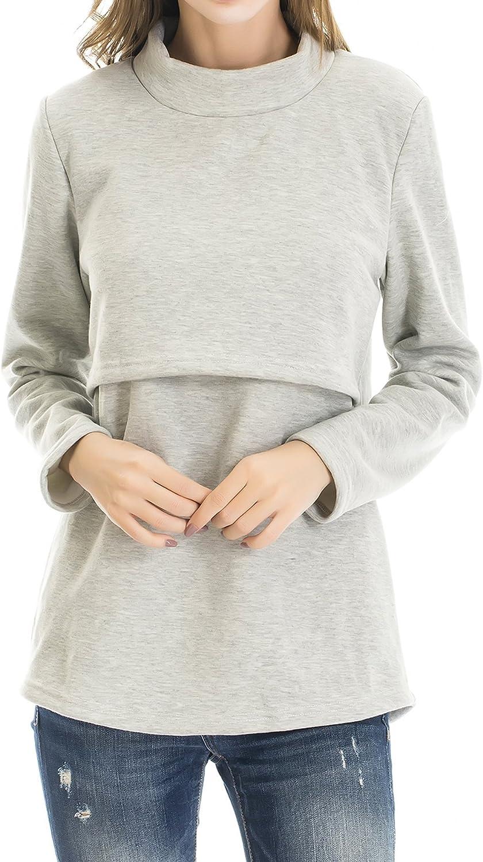 Smallshow Women's Fleece Nursing Tops Sleeve Classic Shirts Long Max 59% OFF Breastf