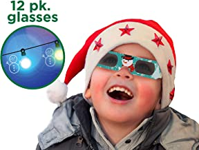 Holiday Specs 3D GLASSES-12pk Holographic glasses, Look through Glasses at your Holiday Lights and see Snowmen, Snowflakes, Santa, Gingerbread Men, Candy Canes or Reindeer Appear before your Eyes!