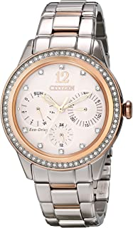 Women's Eco-Drive Two-Tone Pink Goldtone Silhouette Crystal Watch
