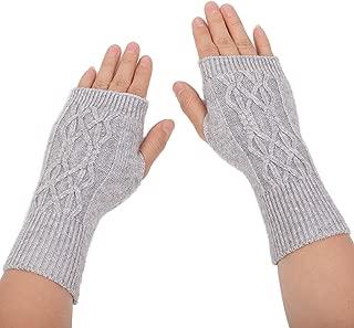 Flammi Women's Winter Warm Wool Knit Fingerless Gloves Thumbhole Wrist Warmers Arm Warmers Mittens