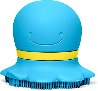 Skip Hop Moby & Friends Baby Bath Scrubber: Ultra-Soft Silicone Soap Sudsy, Blue Octopus