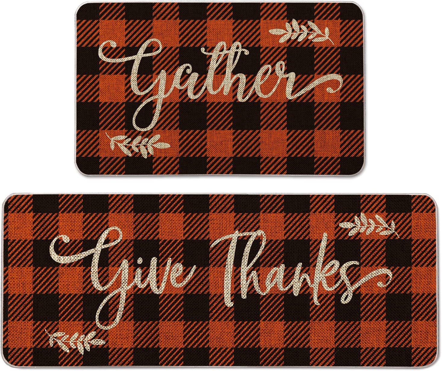Artoid Mode Buffalo Plaid Gather Give Thanks Decorative Kitchen Mats Set of 2, Home Seasonal Fall Holiday Party Autumn Harvest Thanksgiving Vintage Low-Profile Floor Mat - 17x29 and 17x47 Inch