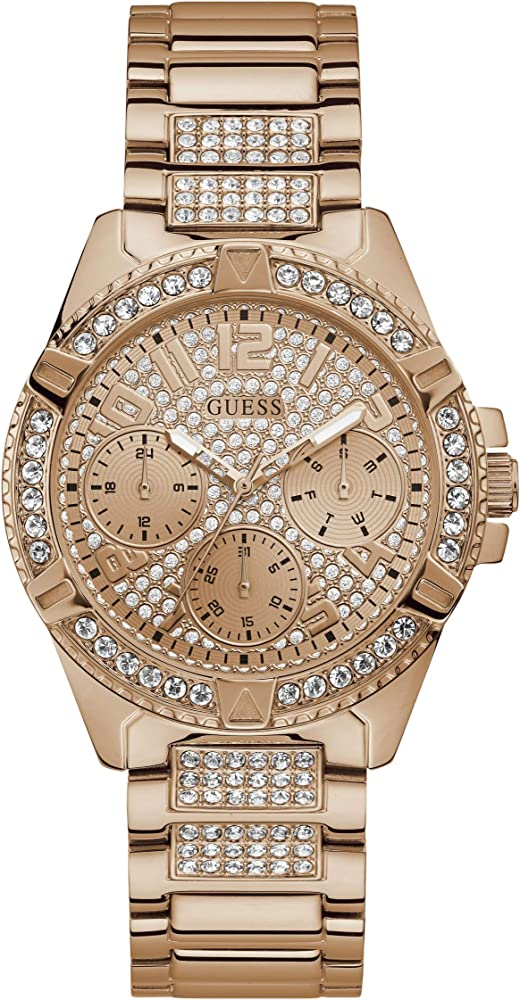 Guess,orologio per donna,in acciaio lucido ip oro rosa con cristalli W1156L3
