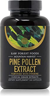 RAW Forrest Foods Mountain Harvest Pine Pollen Capsules | Clinical Strength Potent 10:1 Pine Pollen Extract Fortified with Piperine Extract for Maximum Absorption | 120 Capsules