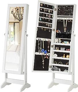 YOKUKINA Jewelry Cabinet Free Standing, Large Lockable Storage Admoire, Full Length Dressing Mirror Organizer. (White)
