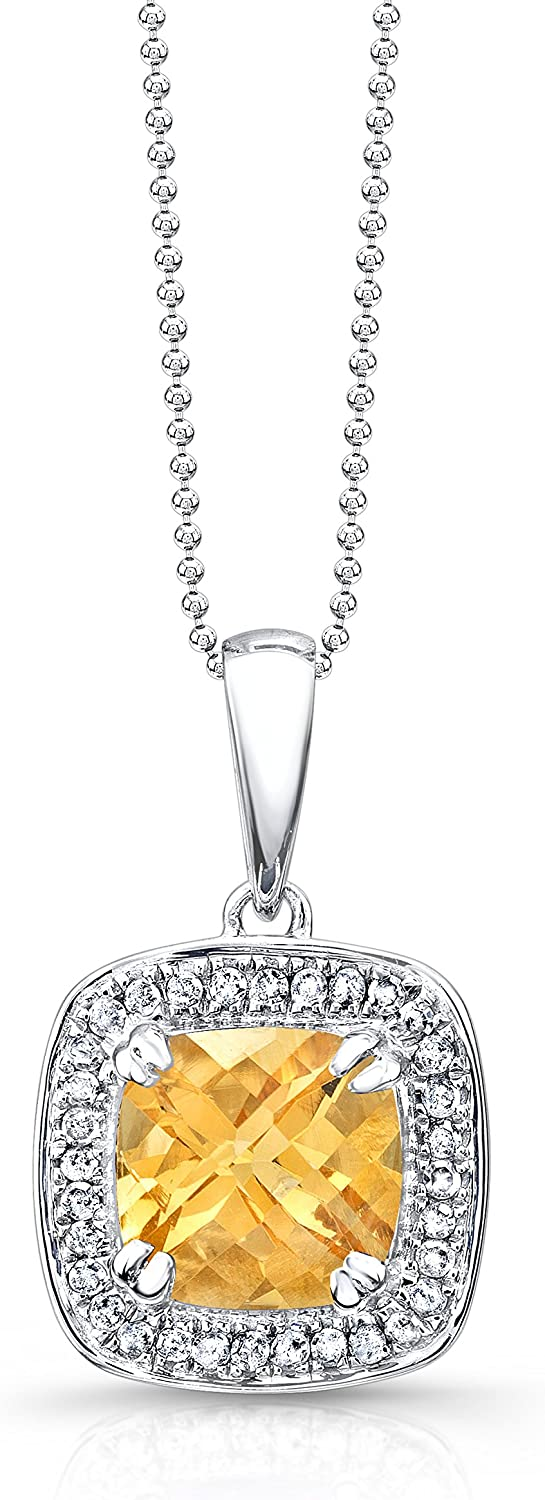 1 5ct White Diamond and 2ct Citrine Halo Pendant in Sterling Silver, 18