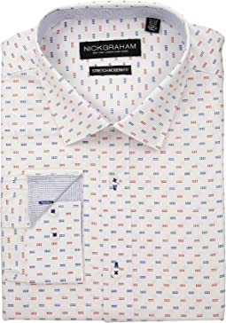 Square Dot Print Stretch Shirt
