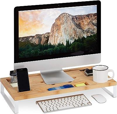 relaxdays Support, Rehausseur Bambou et Fer, Moniteur ou PC, Organiseur de Table Ergonomique, Blanc, Weiß, 9 x 60 x 30 cm