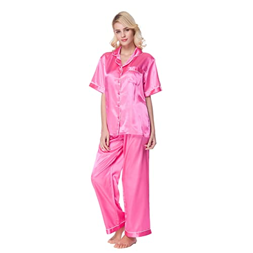083d5aa2f966 SunRise Women s Short Sleeve Classtic Satin Pajama Set