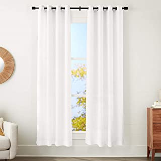 """amazonbasics Sheer Window Panel Pair with Grommets - 50"""" x 84"""", Classic White"""