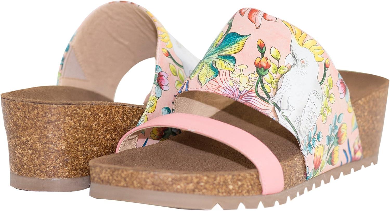 Anuschka Women's Leather Wedge Slide, Myra | Original Printed Artwork | Made for Comfort & Style | Slip-On Platform Sandal