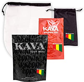 Wakacon Kava Waka Powder Fijian Noble Premium Quality Kava Root (16oz) + Wakacon Kava Strainer Bag Pro