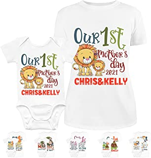 Our First Mother's Day Matching Outfit for New Mom and Baby | 10 Designs & 5 Sizes | Personalized 1st Time T-Shirt and One...