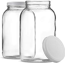 Paksh Novelty 1-Gallon Glass Jar Wide Mouth with Airtight Metal Lid - USDA Approved BPA-Free Dishwasher Safe Large Mason J...