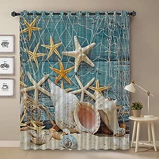 T&H Home Darkening Blackout Curtain for Bedroom - 72 inch Long Window Treatment Curtain Drapes Modern Art Design - Ocean Life Window Panel Seashells Starfish Under Wooden Board Pattern