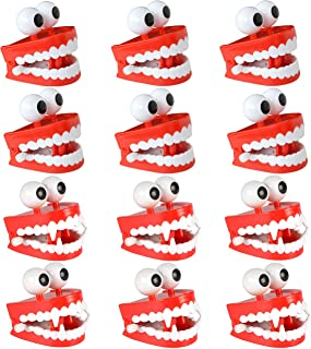 Liberty Imports 12 Pack Jumbo 3 Inches Chattering Teeth with Eyes Classic Wind Up Chomping Walking Teeth Office Toy Dentures - Halloween Novelty Party Favors Kids Gag Gifts (6 Vampire + 6 Regular)