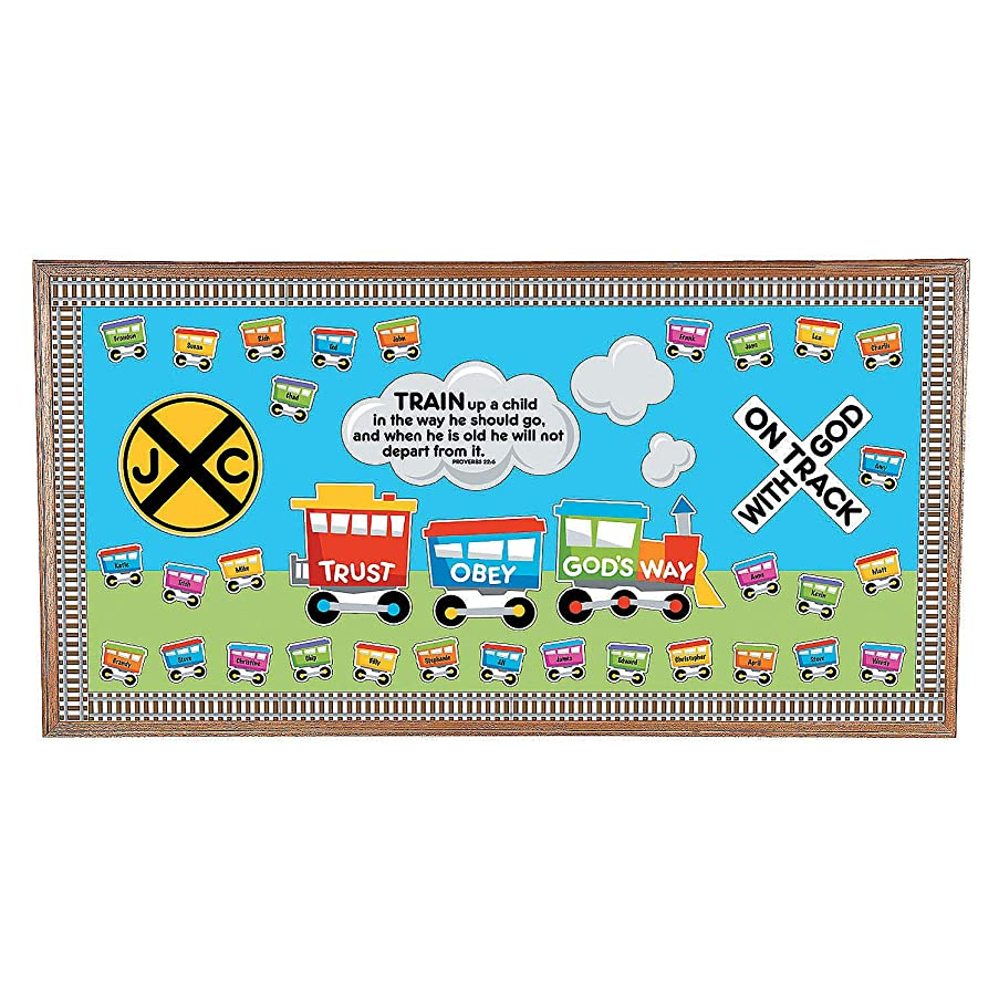 Fun Express - Faith Train Bb Set - Educational - Classroom Decorations - Bulletin Board Decor - 1 Piece