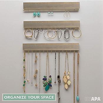 Ilyapa Wall Mounted Jewelry Organizer, Rustic Gray Wood - Earring, Bracelet and Necklace Holder - 3 Piece Jewelry Han...