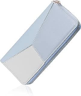 Elios Long PU Phone & Card Holder Zip Around Purse Wallet for Women (Blue)