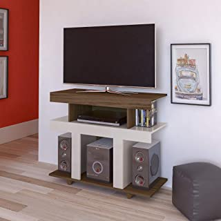 Artely Guaíba TV Table for 42 inch TV, Walnut Brown with Off White - W 91 cm x D 37.5 cm x H 74.5 cm