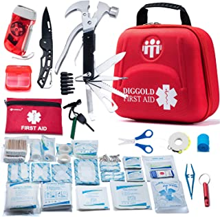 First Aid Kit for Car Travel Camping Home Office Sports Survival Complete Emergency Bag Fully stocked with Medical Supplies (RED2.0)