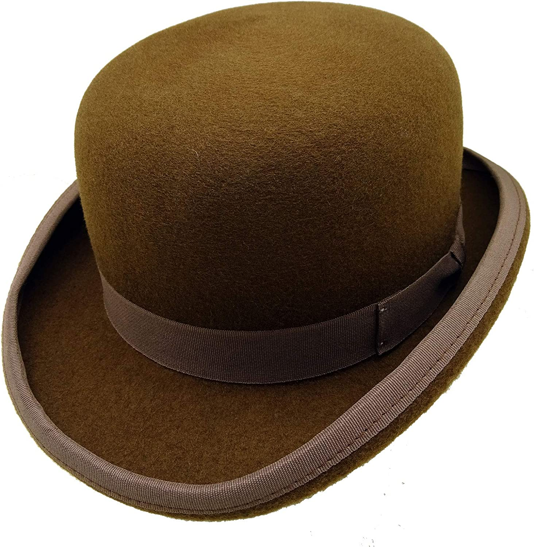 52f13f78b7aa1d HATsanity Unisex Vintage Wool Felt Formal Formal Formal Dura Bowler Hat  Brown 10b03b