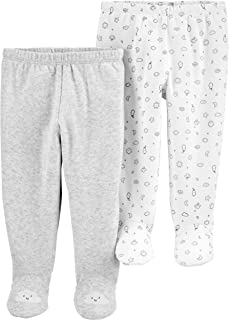 Carter's Baby Boys 2-Pack Pull-On Footed Pants (Heather Footie, 3 Months)