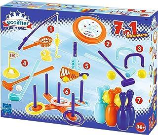 Ecoiffier 189 - Outdoor speelset – 7 verschillende spellen, ideaal voor kinderverjaardagen, frisbee, golf, vissen, ringwer...