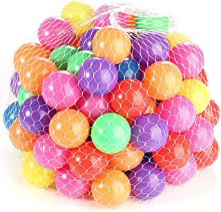 ele ELEOPTION Hengwei Pack of 100 Phthalate Free BPA Free Crush Proof Plastic Ball, Pit Balls - 7 Bright Colors in Reusable and Durable Storage Mesh Bag … (7 Color)