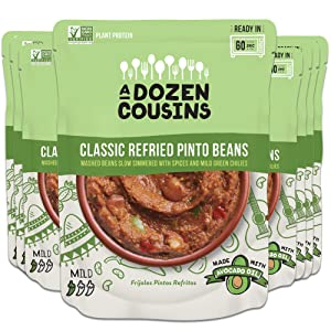 A Dozen Cousins Seasoned Refried Beans - Vegan and Non-GMO Meals Ready to Eat Made with Avocado Oil (Refried Pinto Beans, 8-pack)