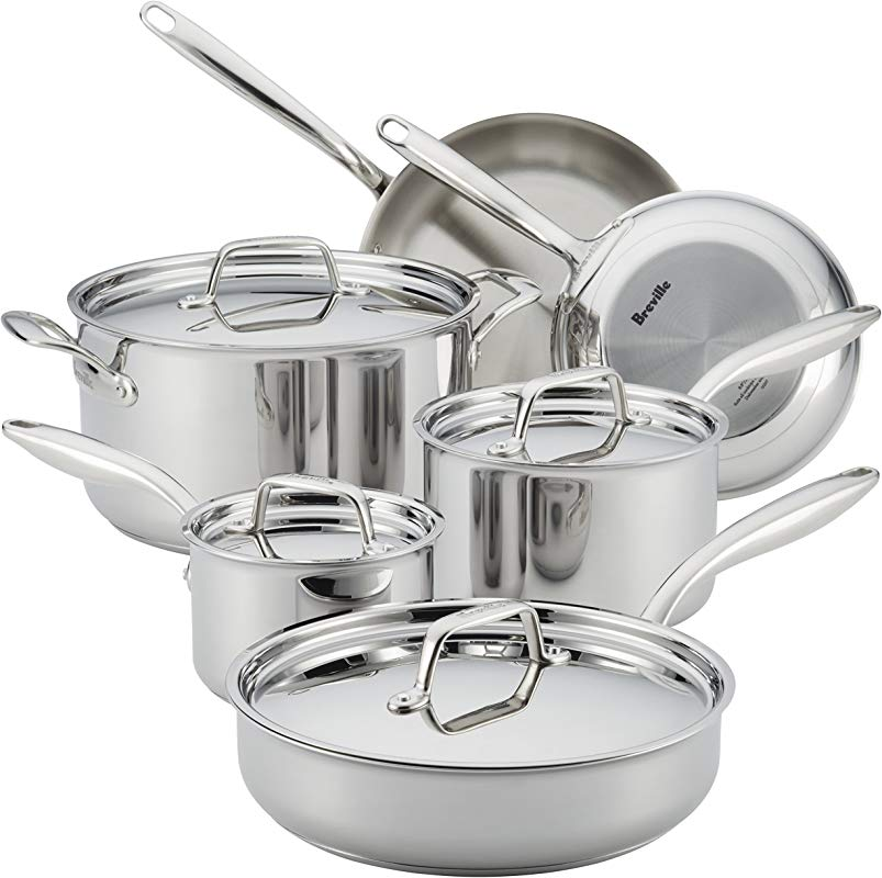 Breville 32064 10 Piece Thermal Pro Clad Cookware Set Large Stainless Steel