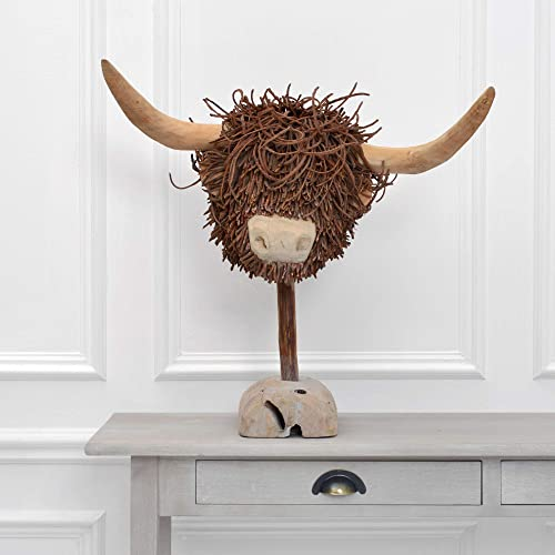 Voyage Maison Wooden Sculpture Highland Cow WS150002