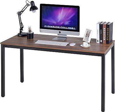 "POPRUN Writing Computer Desk 55 Inch (55"" x 24"") Home Office Writing Study Desk,Modern Simple Sturdy Laptop Study Table,Walnut"