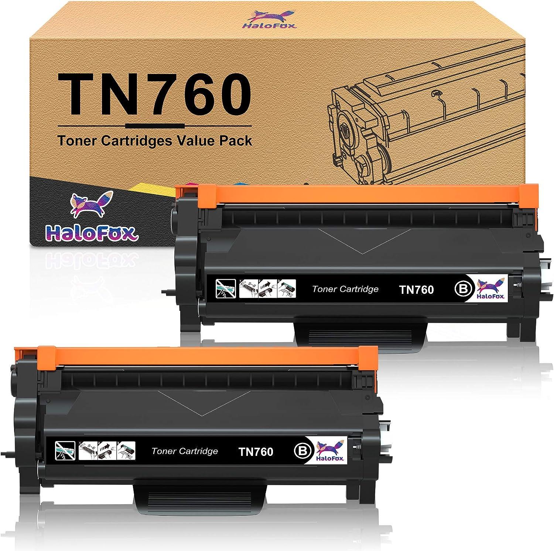 HaloFox Compatible Toner-Cartridge Replacement for Brother TN760 TN-760 TN730 TN-730 for Brother HL-L2350DW HL-L2395DW HL-L2390DW HL-L2370DW MFC-L2750DW MFC-L2710DW DCP-L2550DW Printer (Black, 2-Pack)
