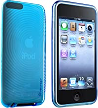 eforCity TPU Rubber Skin Case Compatible with iPod Touch 2G/3G (Clear Blue Concentric Circle)