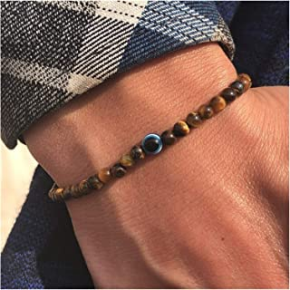 Fashion 4mm Natural Stone Beads Evil Eye Bracelet Handmade Hematite Turkish Evil Eye Braclet For Men Hand Jewelry (Color :...
