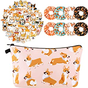 8 Pieces Corgi Dog Hair Scrunchies with Funny Corgi Dogs Makeup Bag and 50 Pieces Welsh Corgi Pembroke Stickers, Elastic Hair Bands Scrunchy Hair Ties Ropes and Cosmetic Bags Organizer for Women Girls