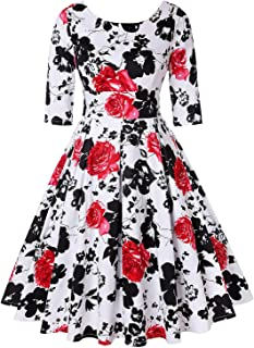 MINT LIMIT Women's 1950s Retro Vintage Cocktail Party Short Sleeve Swing Dress