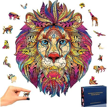 SPECOOL Puzzle en Bois Mysterious Lion 3D Puzzle Coloré Unique Forme Animale Jigsaw Pieces Puzzle en Bois Meilleur Cadeau pour Adultes et Enfants, Collection de Jeux de Famille (Lion)