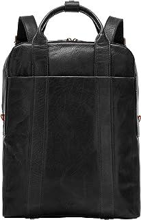 Nuvola Pelle Laptop Backpack Leather for Men Elegant Computer Business Travel Bag Two Handles Straps Black
