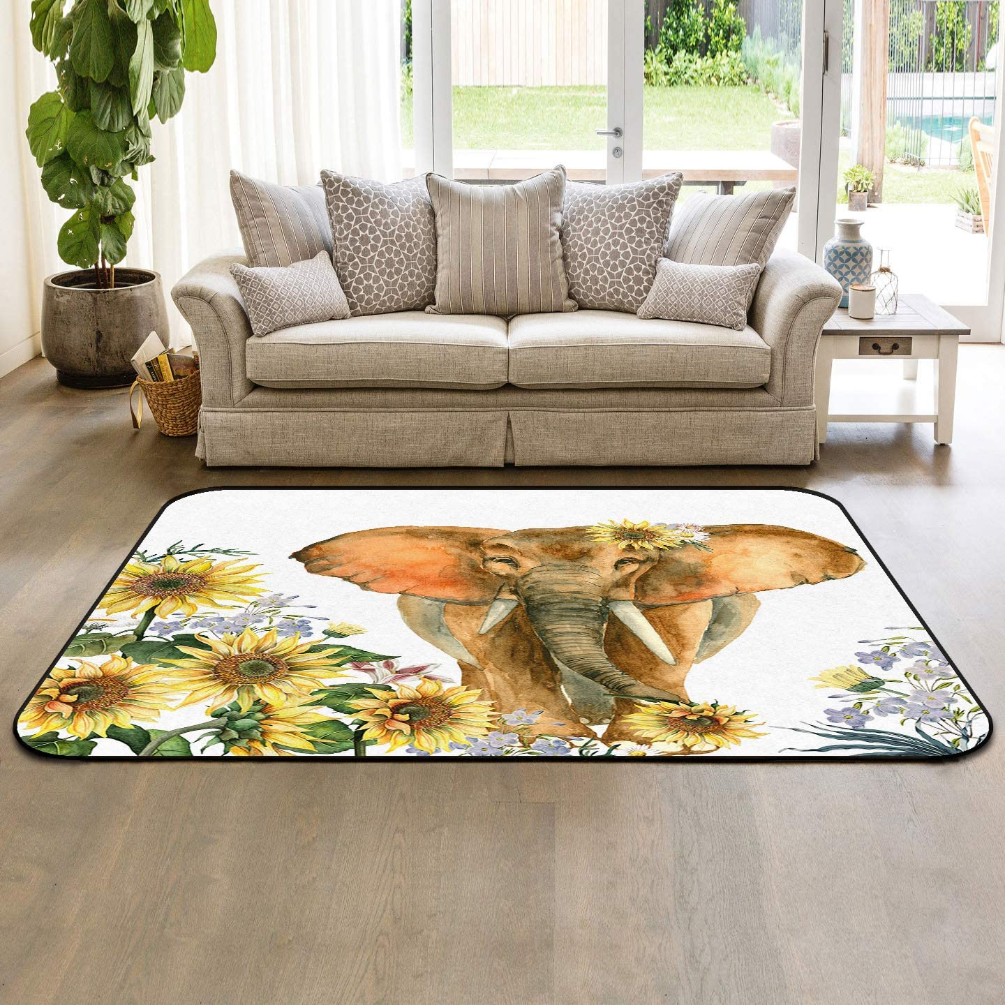 cheap Soft Area Rugs for Bedroom with Elephant Sunflower Washable Rug List price