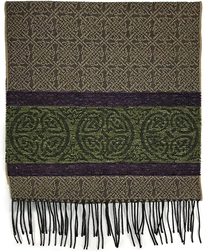 The Celtic Ranch Detailed Woven Celtic Scarf, Women's Fringe Scarf, Wool and Acrylic Blend, 15 Inches x 62 Inches