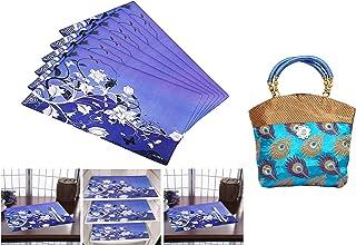 Kuber Industries Women Mini Handbag 10 * 10 Inches in Stylish Design with Fancy Brocade (Sky. & PVC 6 Pieces Refrigerator ...