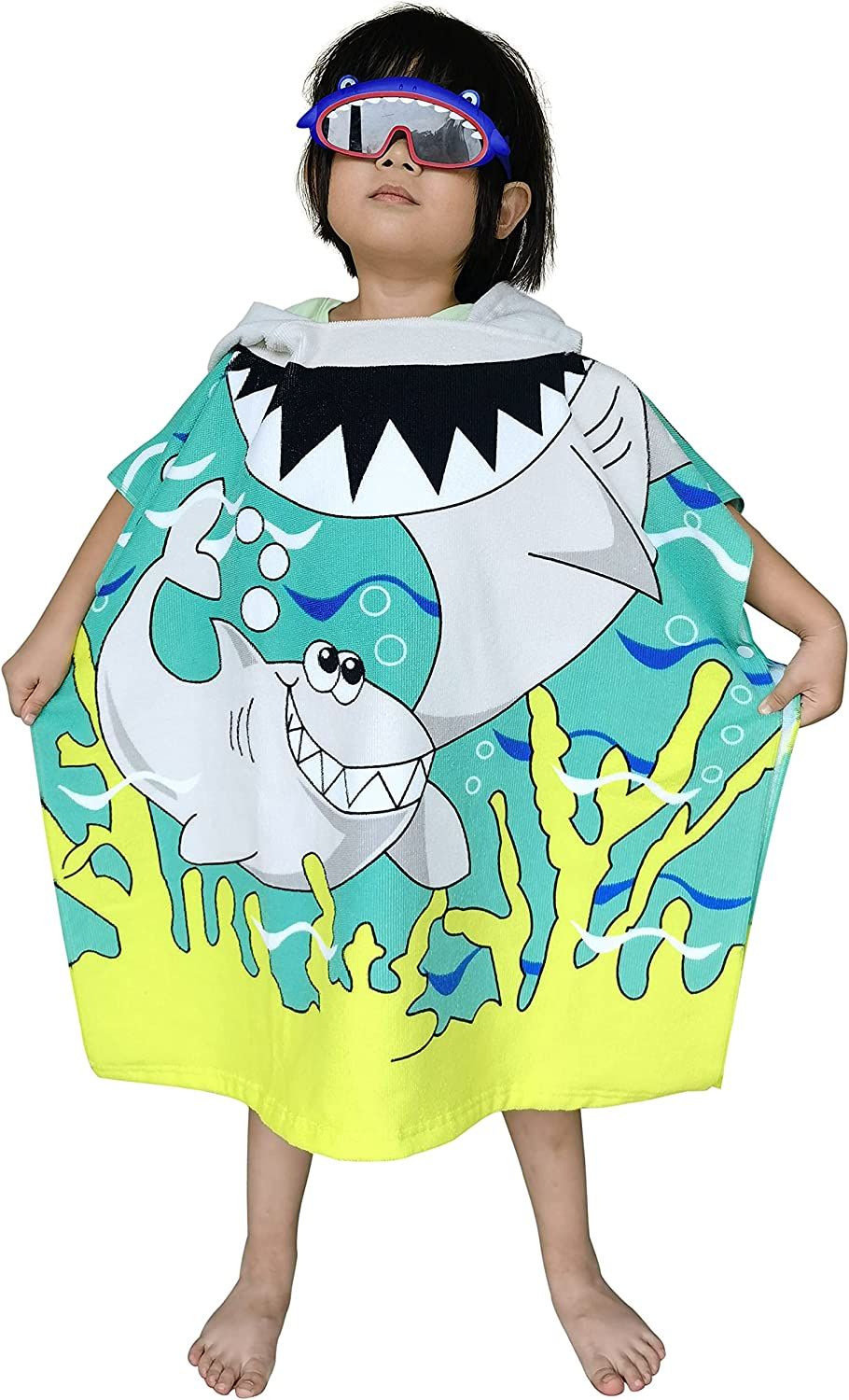Regular discount Kids Hooded Poncho Towel with Bright Shark T for Pool New item Beach Bath