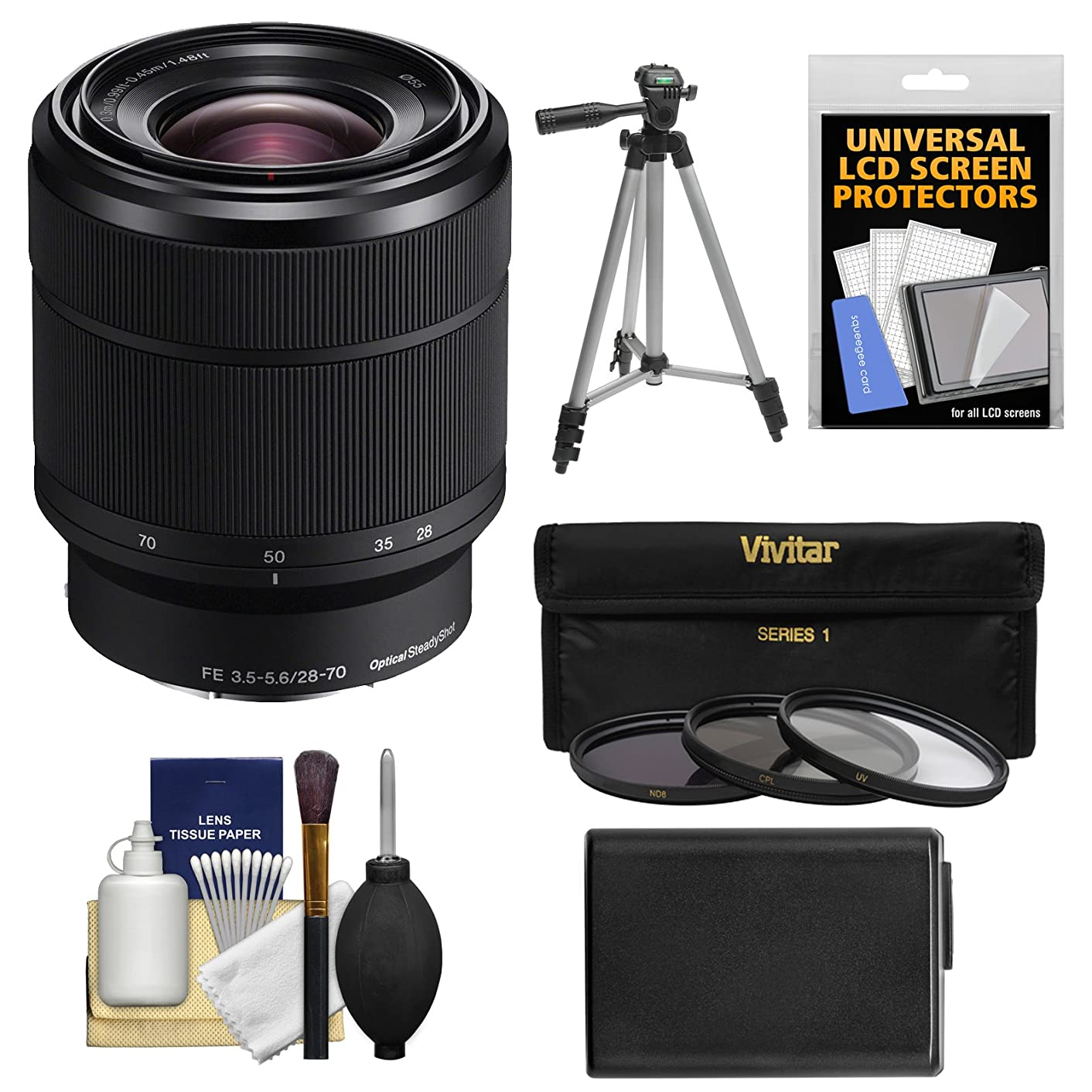 Sony Alpha E-Mount FE 28-70mm f/3.5-5.6 OSS Zoom Lens with NP-FW50 Battery + Tripod + 3 UV/ND8/CPL Filters Kit for A7, A7R, A7S Mark II Cameras
