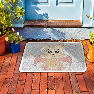 "Prime Leader Indoor Outdoor Doormat Halloween Cartoon Cute Pink Bat 24"" x 36"" Dirt Trapper Mats with Rubber Backing for Front/Back Door&High Traffic Area Easy Clean"